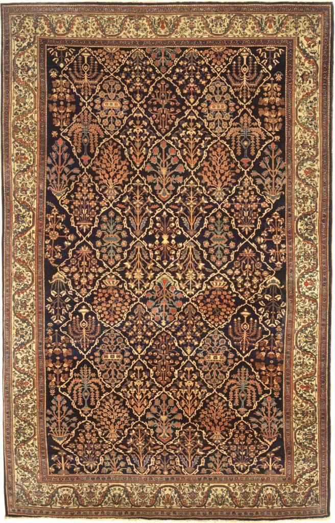 Antique Persian Saruk Carpet - Allover Garden Design