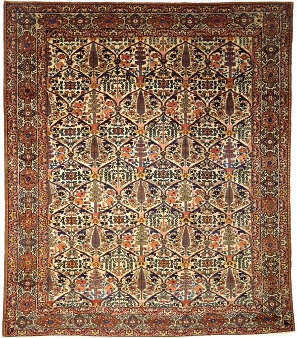Persian Bakhtiari Square Carpet - Wool - Garden Design