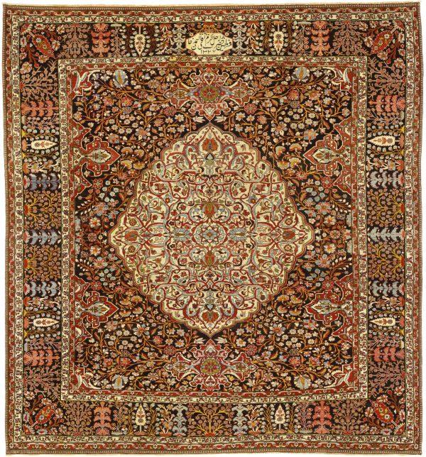 Persian Bakhtiari Large Square Carpet - Oversize - Central Medallion