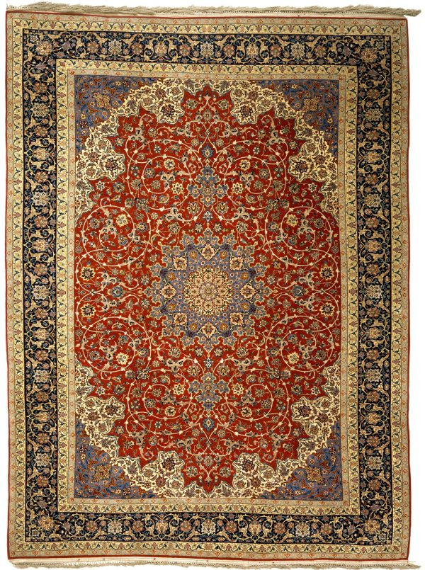 Persian Isfahan Silk and Wool Carpet - Standard Area Size 12x9