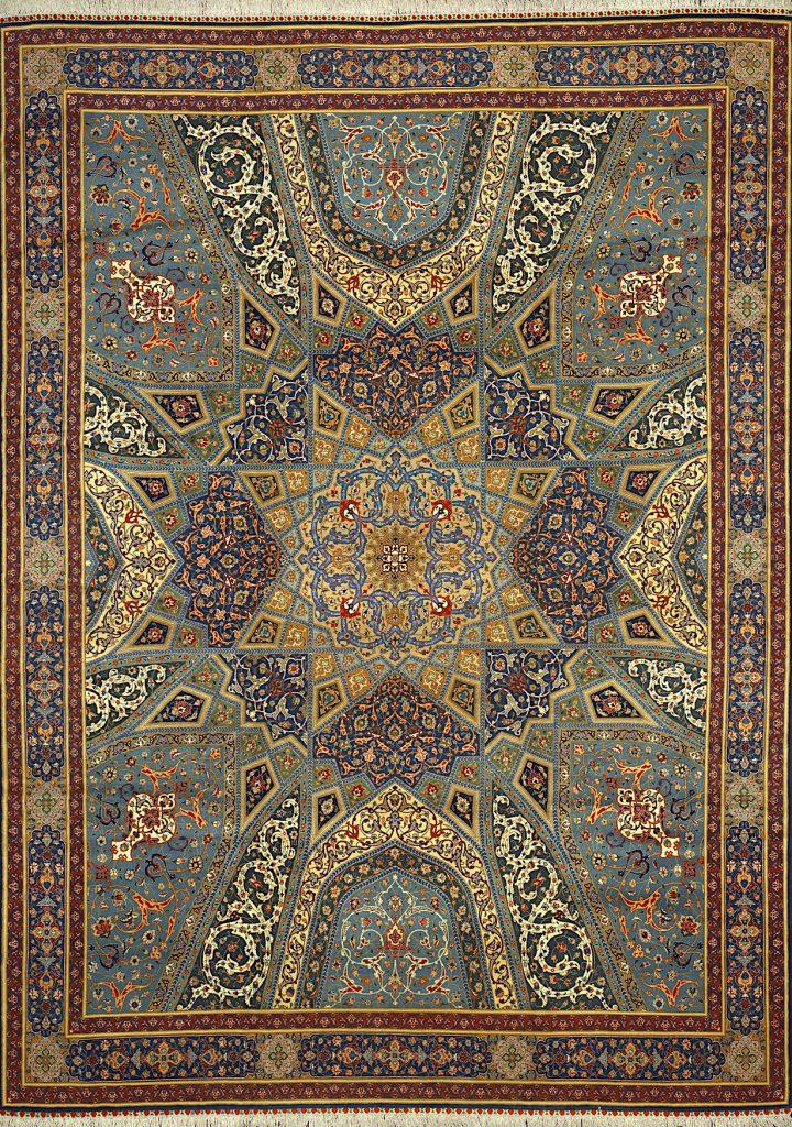 Persian Tabriz Carpet - Mosque Dome (Gonbad) Design - Fine Silk and Wool