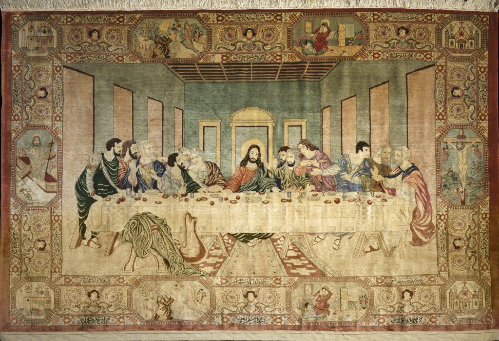 Persian Qum Pictorial Rug - The Last Supper - Pure Silk
