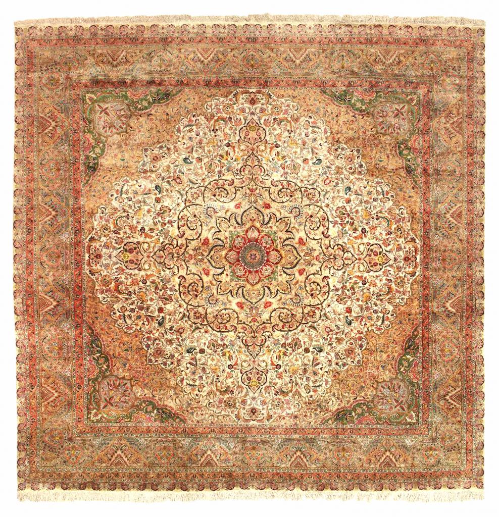 Persian Tabriz Extra-Large Square Carpet - Pure Silk